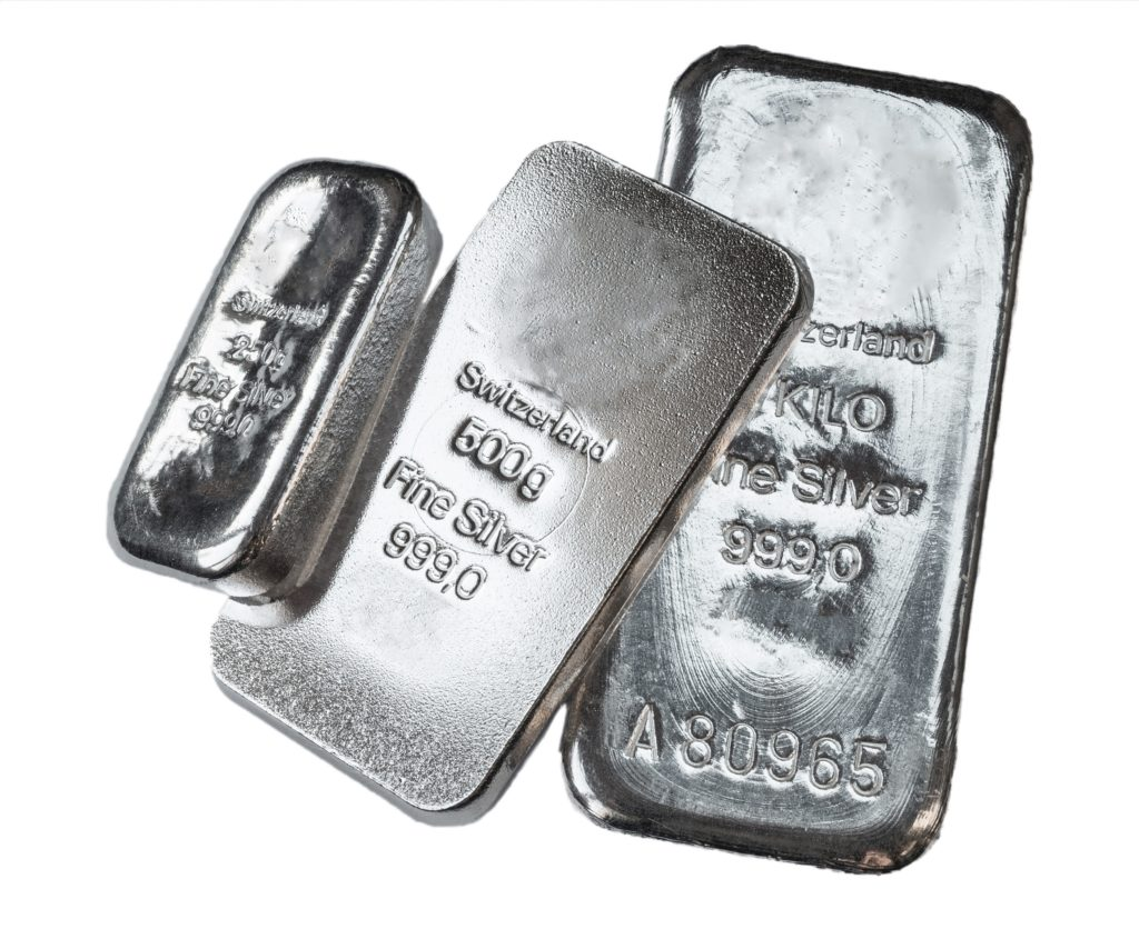 Three silver bars of 250, 500 and 1000 grams